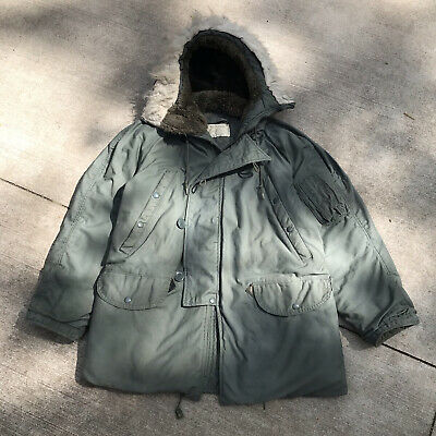 $79.95 • Buy Vintage Army Air Force Extreme Cold Weather Parka Fur Hooded Jacket N-3B Mens S