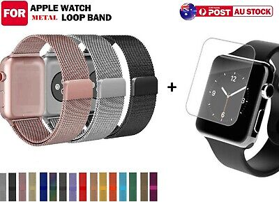 AU12.99 • Buy Milanese Metal Strap Band + Screen Protector For Apple Watch 5 4 3 2 1 40 44 38