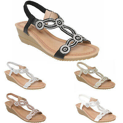 £12.95 • Buy Womens Ladies Sandals Mid Low Heel Wedge Sling Back Girls Summer Party Shoes New