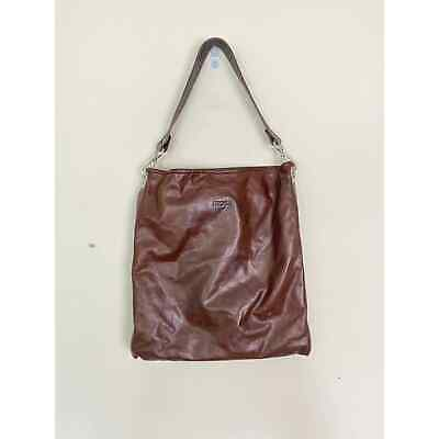 $65 • Buy M0851 Brown Oiled Leather Tote Purse