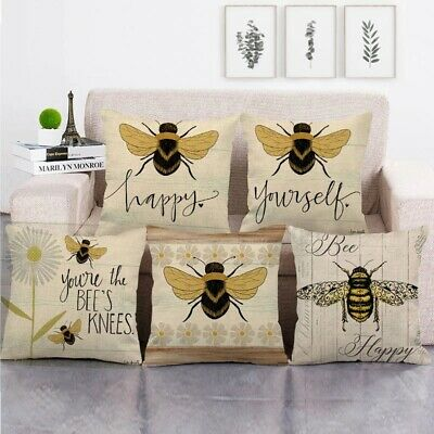 £3.36 • Buy Rural Square Wooden Bee Honey Cushion Cover Linen Cotton Sofa Couch Pillow Case