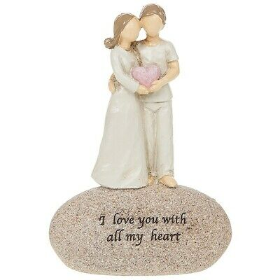 £9.99 • Buy I Love You With All My Heart Sentimental Small Pebble Couple Ornament Figurine