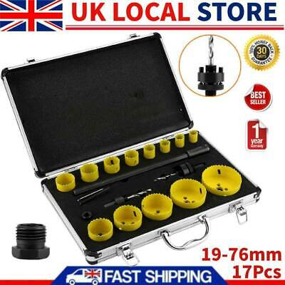 £36.04 • Buy 17 HOLE SAW KIT SET 19-76mm HEAVY METAL CIRCLE CUTTER ROUND DRILL WOOD DOWNLIGHT