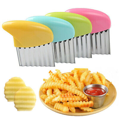 £3.19 • Buy Stainless Steel Potato Chip Salad Vegetable Crinkle Cutter Kitchen Cutting Tool