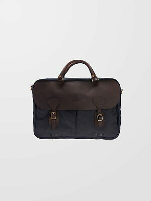 £140 • Buy BARBOUR Navy Wax Leather Briefcase