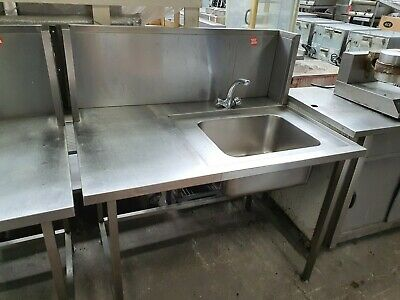 £325 • Buy Commercial Solid Stainless Steel Single Bowl Sink + Splashback + Taps - VGC