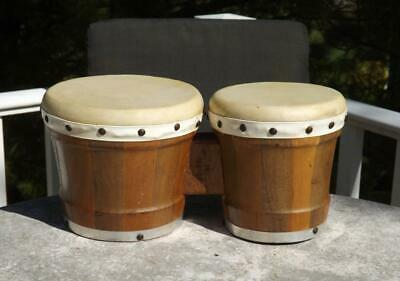 £54.57 • Buy Bongo Drums Mexico Natural Wood Leather Skins 6  & 7  Tops