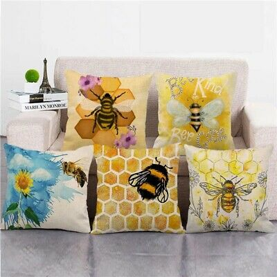 £3.36 • Buy Honey Bee Beehive Pillow Case Cotton Linen Outdoor Indoor Square Cushion Cover