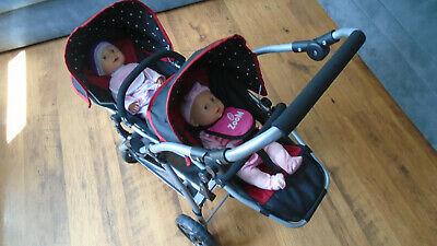 £29.99 • Buy Twin Baby Buggy Pushchair Babies Stroller With Toy Crying Boy & Girl Dolls