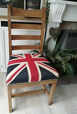 £50 • Buy Union Jack Chair, Heavy And Solid Wood- Sprung Seat.