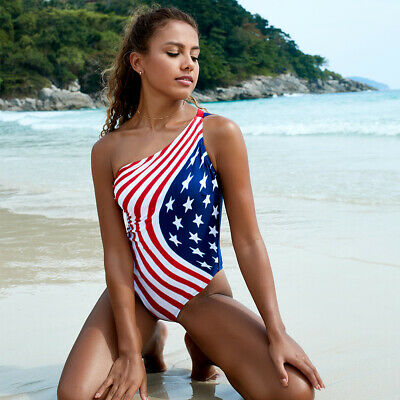 £12.11 • Buy Padded Monokini USA Flag Printed One Shoulder Backless Swimsuit S-2XL 2Style