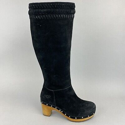 £105.10 • Buy UGG AUSTRALIA ROSABELLA Black Leather Suede Tall Clog Boots US5 UK3.5 RRP £245