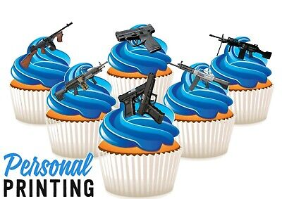 £2.79 • Buy MILITARY ARMY GUNS 6 MIX - 12 Edible Cupcake Toppers Love Army Shooting