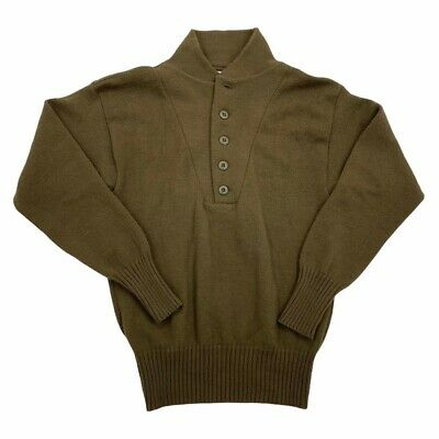 $20 • Buy Military Issue Mitt's Nitts OD Shall Collar 5 Button Henley Army Sweater Mens M