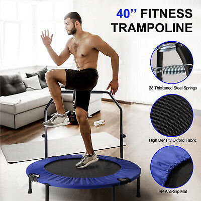 £45.99 • Buy 40  Folding Indoor Mini Trampoline Rebounder For Adults Kids Fitness With Handle