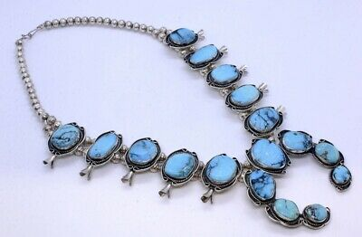 $ CDN1214.49 • Buy 24  925 Sterling Silver Large Native American Turquoise Squash Blossom Necklace