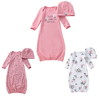 £10.39 • Buy Baby Girls Gowns Nightgown Sleeping Bag Clothes Newborn Pajamas Gifts Soft + Hat