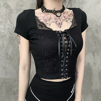 £9.74 • Buy Summer Women Punk Sexy T-shirt Tops Clothes Lady Casual Party Slim Tops Lace Up