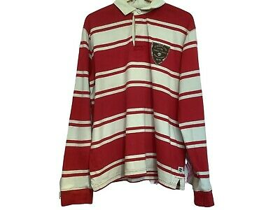 £15 • Buy Timberland Men Rugby Shirt Polo Neck Regular Fit Striped Cotton Red Size L