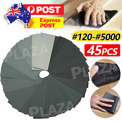 AU9.85 • Buy 45PCS Sandpaper Mixed Wet And Dry Waterproof 120-5000 Grit Sheets Assorted Wood