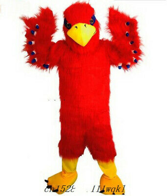 £278.96 • Buy Cartoon Long-haired Character Red Eagle Mascot Costume Long Fur Dress Suit Adult