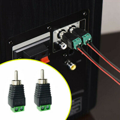 £2.69 • Buy 4 Pcs Speaker Wire Cable To Audio Male RCA Connector Adapter Jack Plug Durable