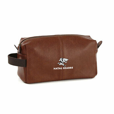 £19.95 • Buy NATAL SHARKS Faux Leather Rugby Wash Kit Bag [brown]