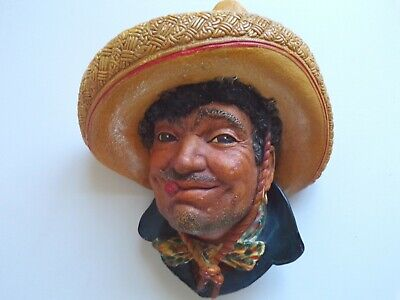 £14.95 • Buy BOSSONS Chalkware Head Figure PANCHO The MEXICAN American COWBOY Era WALL PLAQUE