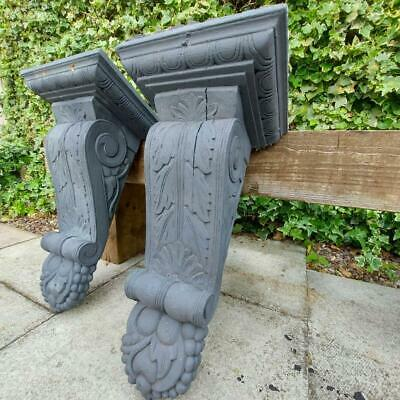 £165 • Buy Large Pair Hand Carved Wooden Shelf Brackets Wall Corbels Architectural Salvage