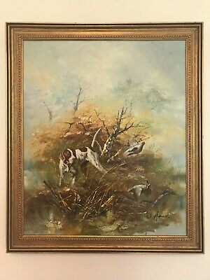 £295 • Buy Oil Painting Of Pointer Dog Flushing Quail - Shooting Hunting Interest - Signed