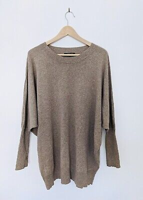 £49.99 • Buy Jaeger Tan Neutral Cashmere Slouchy Batwing Relaxed Jumper Knit UK 16 L