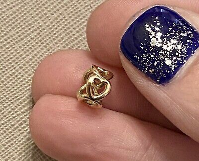 £100 • Buy Genuine Pandora 14ct Gold Open Heart Spacer Charm 750454 1 Of 2