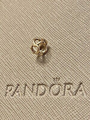 £100 • Buy Genuine Pandora 14ct Gold Open Heart Spacer Charm 750454 2 Of 2