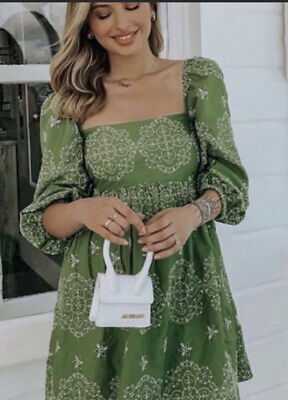 $60 • Buy Last Zara SS20 Green Floral Embroidered Cutout Broderie Bardot Dress S-XXL NWT