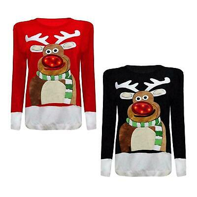 £5.99 • Buy Ladies Womens 3D Knitted Rudolph Nose Jumper LED Lights Festive Novelty Sweaters