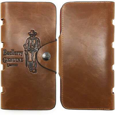 $9.59 • Buy Men Wallet Bifold ID Card Holder Case PU Leather  Long Purse Snap Button Clutch