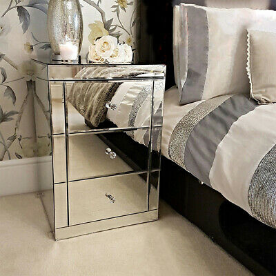 £115 • Buy Modern Furniture Mirrored Glass 3xDrawer Bedside Cabinet Table Bedroom Tables