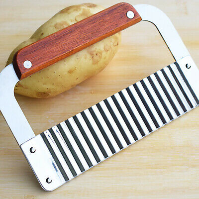 £4.94 • Buy Stainless Steel Potato Chip Salad Vegetable Crinkle Cutter Kitchen Cutting Tool