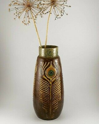 £35 • Buy Unusual Studio Pottery Large Vase Applied Peacock Feathers