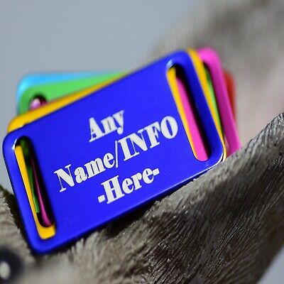 £3.14 • Buy Personalised Pet Tags Engraved Dog Cat Charm Name Collar Animal ID Rectangle Tag