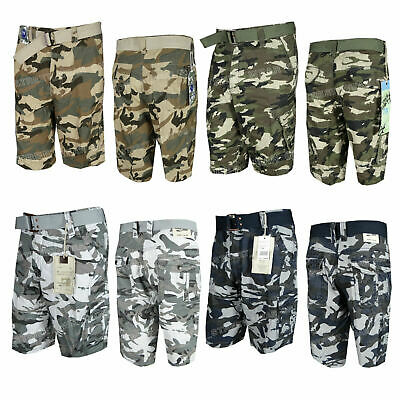 $21.95 • Buy Mens Camo Cargo Shorts With Belt Green Blue Or Khaki Camouflage Lightweight