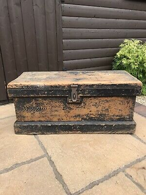 £75 • Buy Large Vintage Wooden Trunk, Chest, Carpenters Box, Rustic