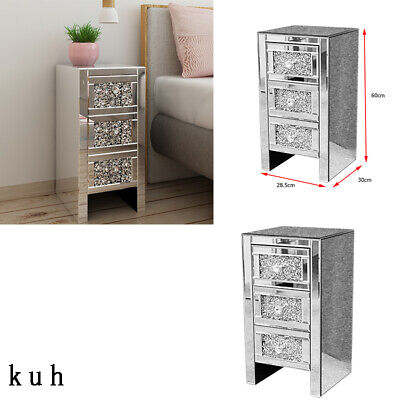 £109 • Buy Mirrored Crystal Diamante 3 Drawers Storage Nightstand Bedside Tables Cabinet