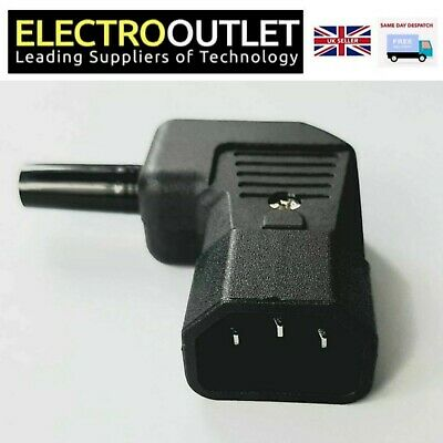 £4.75 • Buy Right Angled Euro Travel Mains Power Plug Male IEC320 C14 Adapter Connector