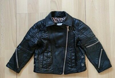 £15 • Buy River Island Baby Girls Black Faux Leather Jacket Coat Age 12-18 Months