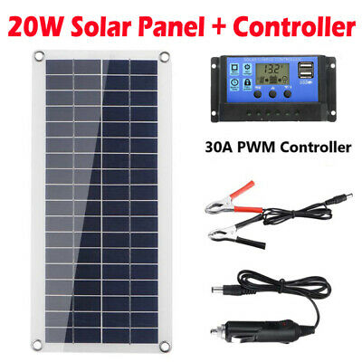 £19.59 • Buy 20W 18V Solar Panel Charger 30A Battery Charging Controller For Boat RV Caravan