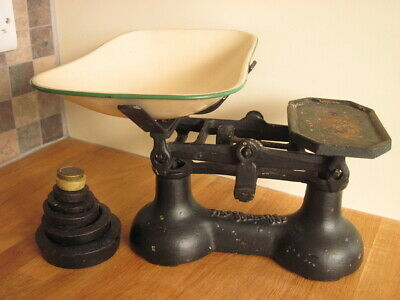 £9.99 • Buy Vintage Cast Iron Balance Scale With Imperial Weights. Enamelled Metal Pan.
