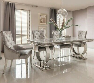 £1299 • Buy Grey Marble Dining Table  180cm With 4 Chairs Knocker Back