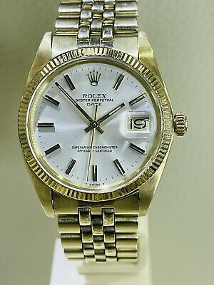 $ CDN8669.83 • Buy Rolex Date Vintage 14k Gold Ref. 1503 Silver Dial Mens 34mm Automatic Watch!!!