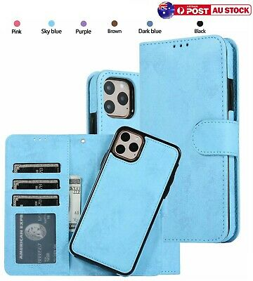 AU15.10 • Buy Removable Leather Magnetic Wallet Cover Case For IPhone 12 11 Pro Max XS XR 8 6+